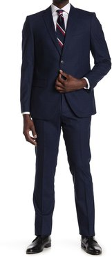 John Varvatos Collection Blue Solid Two Button Notch Lapel Stretch Wool Suit at Nordstrom Rack