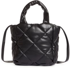 Small Rosanne Quilted Faux Leather Top Handle Bag - Black