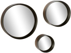 """Willow Row Round Black And Bronze Rimmed Metal Wall Mirrors - Set of 3: 16"""" - 12"""" - 8"""" at Nordstrom Rack"""