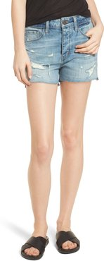 High Waist Boyfriend Cutoff Denim Shorts