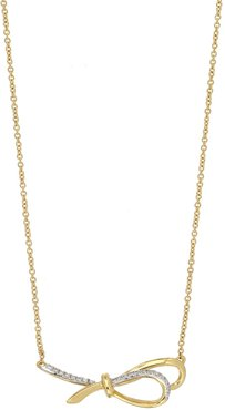 Bony Levy 18K Yellow Gold Pave Diamond Bow Pendant Necklace - 0.05 ctw at Nordstrom Rack
