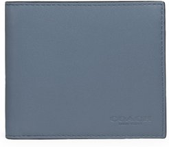 Colorblock Coin Leather Wallet - Blue