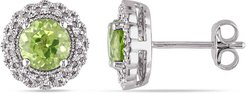 Delmar Sterling Silver Round Cut Peridot & Pave Diamond Accented Halo Stud Earrings - 0.01 ctw at Nordstrom Rack