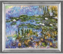 """Overstock Art Violet Water Lilies by Claude Monet Framed Hand Painted Oil Reproduction - 29"""" x 25"""" at Nordstrom Rack"""