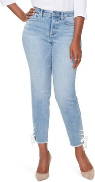 Plus Size Women's Curves 360 By Nydj High Waist Lace-Up Ankle Slim Straight Leg Jeans
