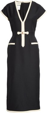 Belted Silk & Wool Cady Crepe Dress
