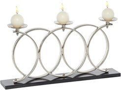 "Willow Row Contemporary Elevated Looped Silver Metal Candle Holders on Marble Base - 24"" x 12"" at Nordstrom Rack"