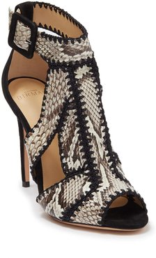 Alexandre Birman Edith Python Embossed Whipstitched Stiletto Sandal at Nordstrom Rack
