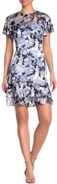 Elie Tahari Yonica Floral Flutter Sleeve Dress at Nordstrom Rack