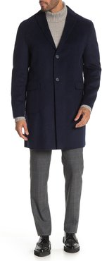 DKNY Navy Solid Button Coat at Nordstrom Rack