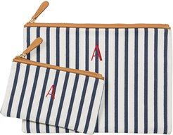 Set Of 2 Monogram Canvas Clutches - Blue