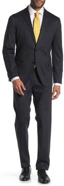 SAVILE ROW CO Grey Chevron Two Button Notch Lapel Knit Trim Fit Suit at Nordstrom Rack