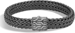 Classic Chain Large Flat Chain Bracelet With Pave Diamonds