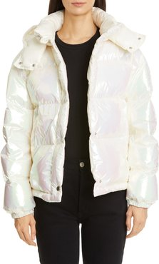 Daos Water Resistant Iridescent Hooded Down Puffer Coat