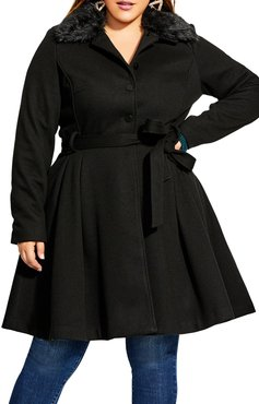 Plus Size Women's City Chic Blushing Belle Twill Coat With Faux Fur Collar