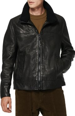 Augustine Leather Jacket With Genuine Shearling Collar