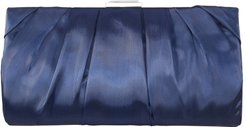 Crystal Clasp Pleated Clutch - Blue