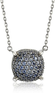 Suzy Levian Sterling Silver Pave Sapphire & Diamond Accent Cluster Pendant Necklace at Nordstrom Rack