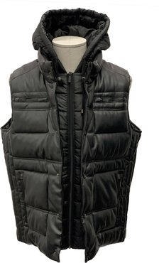 Faux Leather Puffer Hooded Vest