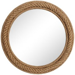 """Willow Row Round Natural Rope Trimmed Wood Wall Mirror - 32"""" x 32"""" at Nordstrom Rack"""