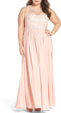 Plus Size Women's Decode 1.8 Embellished A-Line Chiffon Gown