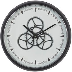 """Willow Row Round Black And White Metal Wall Clock With Functioning Gear Center - 20"""" X 20"""" at Nordstrom Rack"""