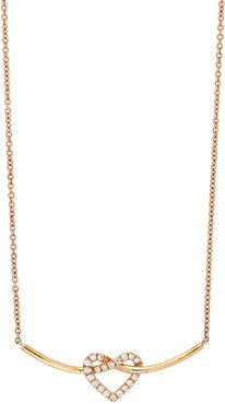 Bony Levy 18K Rose Gold Pave Heart Diamond Heart & Curved Bar Pendant Necklace at Nordstrom Rack