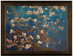 Overstock Art Branches of an Almond Tree in Blossom with Veine D'Or Bronze Scoop Frame at Nordstrom Rack