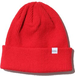 Rib Recycled Cotton Blend Beanie - Red