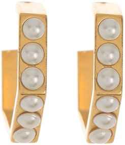 Alex and Ani 14K Gold Plated Honey Comb Swarovski Pearl Open Hoop Earrings at Nordstrom Rack