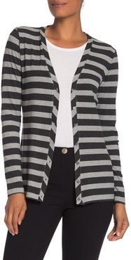 M Magaschoni Long Sleeve Striped Ribbed Knit Cardigan at Nordstrom Rack