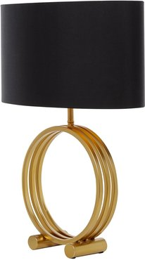 "Willow Row Modern Metallic Gold Table Lamp with Black Drum Shade - 18"" x 25"" at Nordstrom Rack"
