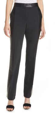Leather Trim Wool Blend Trousers