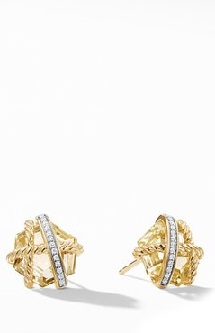 Cable Wrap Earrings With Champagne Citrine And Diamonds