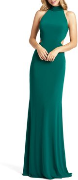 Bow Back Jersey Trumpet Gown