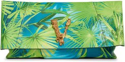 Virtus Jungle Print Leather Clutch - Green