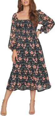 Chasing The Sun Floral Smocked Midi Dress