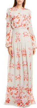 GIAMBATTISTA VALLI Floral Print Long Sleeve Silk Georgette Gown at Nordstrom Rack