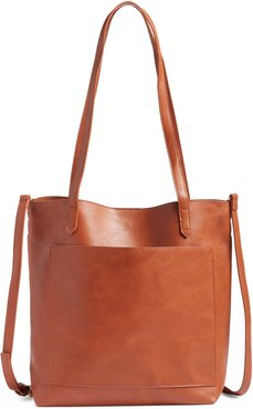 Boulevard Faux Leather Tote - Brown