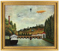 Overstock Art View of the Bridge in Sevres and the Hills of Clamart, Saint-Cloud and Bellevue with Biplane, Balloon and Dirigibl