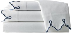 Belle Epoque Scalloped Embroidered Queen Sheet Set - Navy at Nordstrom Rack