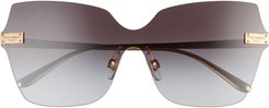 140mm Butterfly Rimless Shield Sunglasses - Gold/ Grey Gradient