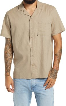 Linen Button-Up Camp Shirt