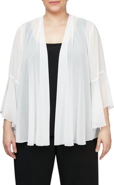 Plus Size Women's Alex Evenings Bell Sleeve Chiffon Cover-Up Jacket