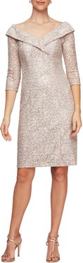 Off The Shoulder Sequin Lace Sheath Dress