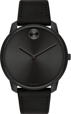Bold Thin Leather Strap Watch, 42mm