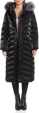 Badgley Mischka Faux Fur-Trimmed Iridescent Maxi Puffer at Nordstrom Rack