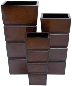 Willow Row Brown Contemporary Iron Planter - Set of 3 at Nordstrom Rack