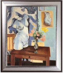 """Overstock Art Greek Torso with Flowers by Henri Matisse Framed Hand Painted Oil Reproduction - 25.25"""" x 29.25"""" at Nordstrom Rack"""
