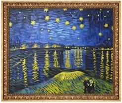 """Overstock Art Starry Night Over the Rhone Framed Oil Reproduction of an Original Painting by Vincent Van Gogh - 27""""x23"""" at Nords"""